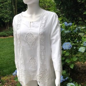 Silkland white shirt with lace inserts